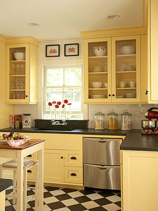 Yellow colored kitchen cabinets 2016 for Dark blue kitchen paint