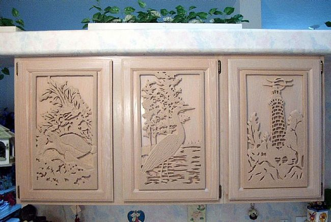 Carved Custom Kitchen Cabinet Doors
