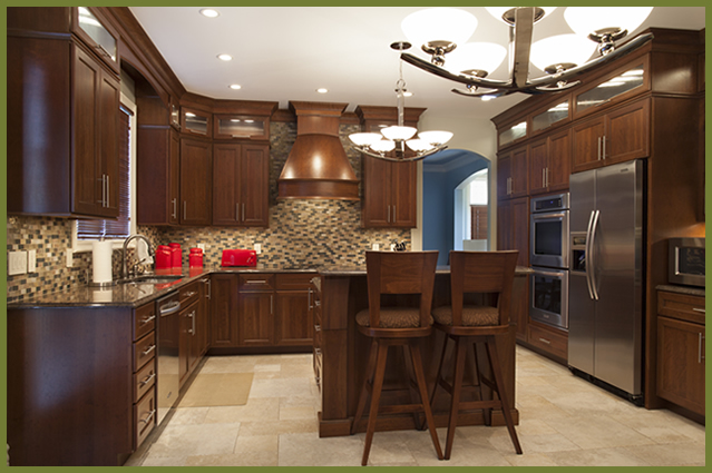 Interesting Dark Wood Kitchen Cabinets