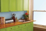 Green Spray Painting Kitchen Cabinets
