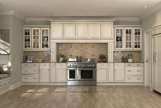 Glazed cabinets kitchen cabinets paint cabinets maple for Best antique white paint for kitchen cabinets