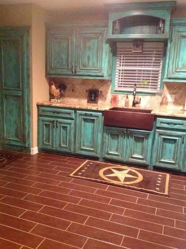 Aqua Distressed Kitchen Cabinets