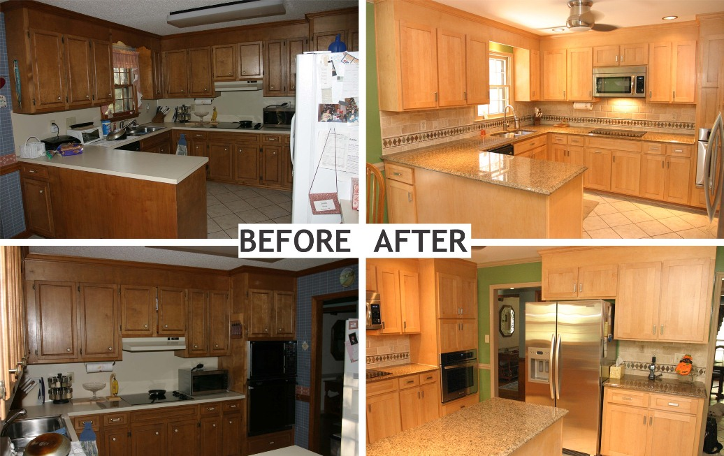 Before after kitchen cabinet refacing 2016 for Refinishing kitchen cabinets before and after