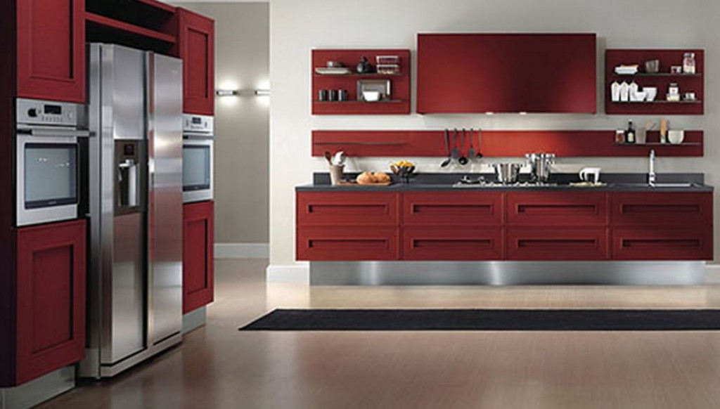 Maroon Kitchens Cabinets