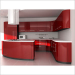 All Red Modular Kitchen Cabinets