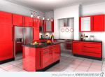 Extreme Red Kitchen Cabinets
