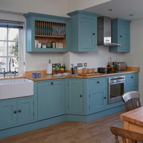 Blue shaker style kitchen cabinets 2016 for Are painted kitchen cabinets in style