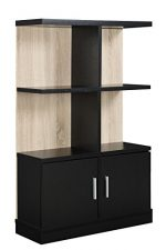 Convenience Concepts Key West Console Bookcase with Cabinet, Weathered White and Black
