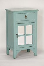 Heather Ann Creations Single Door/Drawer Wooden Cabinet with 4 Square Mirrored Inserts, 30″ x 18″, Blue