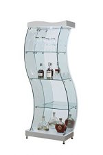 Chintaly Imports 6618 S-Shaped Glass Curio, White