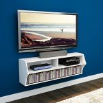 Elecwish 48 Inch TV Wall Mounted Console Floating Media Shelf Audio Video Eco (White)
