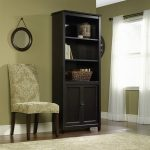Sauder Edge Water 3-Shelf Library Bookcase with Doors, Estate Black
