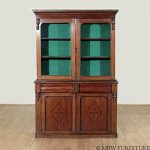 Antique Oak Victorian Bookcase Curio Cabinet