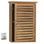 Bamboo Wall Cabinet /Decorative and Functional /Bedroom, Den, Kitchen or Laundry Room /Slat Door , Steel Handle / Modern Spa Style / 2 Shelves Brown