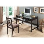 Metro Shop Idabel Dark Brown Wood Modern Desk with Glass Top