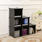 C&AHOME -DIY Bookcase Media Storage Standing Shelf Storage Cabinet Cube of 6(Black)