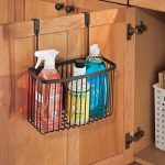 mDesign Over the Cabinet Kitchen Storage Organizer Basket for Aluminum Foil, Sandwich Bags, Cleaning Supplies – Bronze