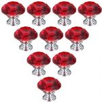 HOSL HOSL 30mm Crystal Glass Diamond Shape Cabinet Knob Drawer Pull Handle Kitchen Color Red(Pack of 10)