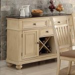 1PerfectChoice Dining Display Storage Buffet Server Wine Rack Drawer Cabinet Wood Antique Cream
