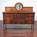 Antique Oak Jacobean Barley Twist Buffet Sideboard