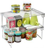 2 Pack – DecoBros Stackable Kitchen Cabinet Organizer, Chrome