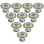 abcGoodefg 30mm Set of 10 Vintage White Glass Crystal Knobs Furniture Door Drawer Pull Cabinet Kitchen Handle Hardware