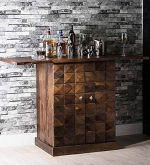 SNG Solid Wood Diamond Bar Cabinet Teak Finish (Acacia Wood)
