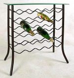 Glass Server Table w 25 Bottle Wine Rack (Satin Black)