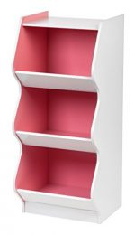 IRIS 3 Tier Scalloped  Storage Shelf, White and Pink
