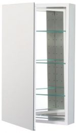 Robern CB-PLM2030WLE  Pl-Series Left-Side Flat Mirror Medicine Cabinet with Outlet, White