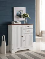 Kings Brand White / Walnut Finish Wood Kitchen Storage Buffet Cabinet