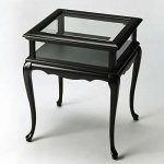 Tables – Chelmsford Curio Table – Black – Glass Top Display Table
