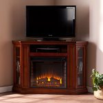 Convertible Electric Fireplace with Cabinet , TV Media Stand Console – Mahogany
