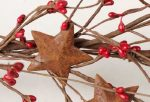 57 Inch Long Hand Wrapped Red Pip Berry Garland with Rusty Stars for Decorating Year Round