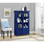 2 Sliding Glass Doors with 4 Adjustable Shelves | Altra Aaron Lane Navy Bookcase with Sliding Glass Doors – Blue Finish