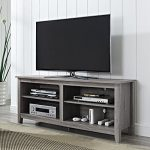 Modern Rustic Weathered Grey Wooden TV Media Stand for 60 in TV with Open Storage Includes ModHaus Living (TM) Pen