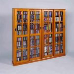 Leslie Dame 4-Door Glass CD/DVD Wall Rack Media Storage – Dark Cherry