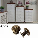 4pcs Retro Drawer Pull Handles Jewelry Case Cabinet Cupboard Knobs Mushroom Antique Flower Pattern Carve