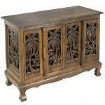 EXP Handmade Furniture 23-Inch Tropical Flowers Design Wood Storage Chest/Coffee Table