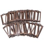 LGEGE 30pcs red Brozen Tone Office Library File Drawer Tag Antique style Label Holder (70mmx33mm)
