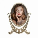 Artifi Vanity Mirror, Non-Magnifying Decorative Mirrors Antique Two Sided Bronze Plated Zinc Alloy Framed Oval Swivel Tabletop Makeup Cosmetic Mirror Vintage & Classic 6″