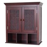 Stunning Espresso Bathroom Wall Cabinet or Medicine Cabinet with Cane Wicker Doors