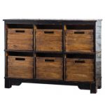 Luxe Mahogany Storage Cupboard with Removeable Bins