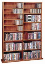 Leslie Dame CDV-1000CHY High Capacity Oak Veneer Multimedia Storage Rack, Cherry
