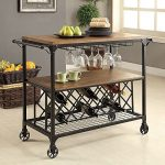 1PerfectChoice Silvia Industrial Kitchen Serving Cart Rolling Medium Oak Shelf Metal Wine Rack