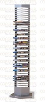 Modern Silver Finish Metal DVD Tower Rack (40 DVDs Storage)