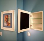 The Regular White Concealed Cabinet (13 1/8 x 16), a Recessed Mirrorless Medicine Cabinet with a Picture Frame Door
