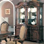 Coaster Saint Charles Collection 100134 64″ China Cabinet with 2 Glass Doors 2 Wood Doors 2 Glass Shelves 6 Drawers Poplar Wood and Veneer Materials in Brown