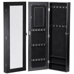 go2buy Black Mirrored Jewelry Cabinet Armoire Mirror Rings, Necklaces, Bracelets 42.5×14×3.5 inch