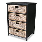 Heather Ann Creations 4-Drawer Bamboo Solid Frame Cabinet, 32-Inch, Black and Brown